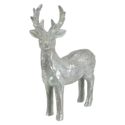 """10.5"""" Silver Distressed Finish Standing Deer Table Top Christmas Decoration - IMAGE 1"""
