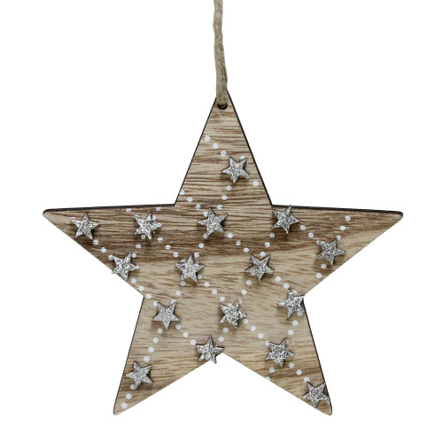 """4.5"""" Brown and Silver Wooden Star Hanging Christmas Ornament - IMAGE 1"""