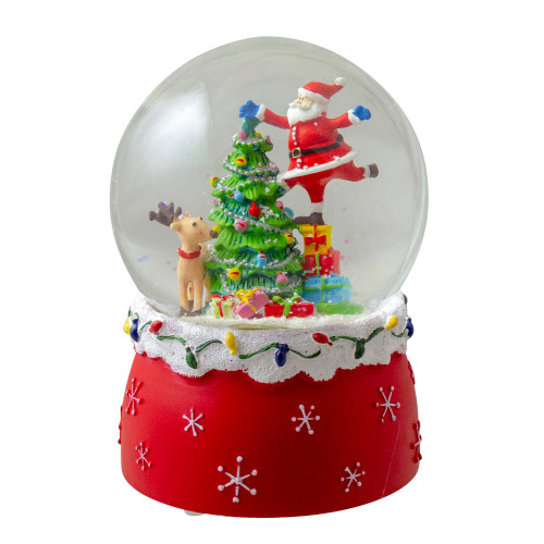 "6"" Santa Decorating a Christmas Tree Musical Snow Globe - IMAGE 1"