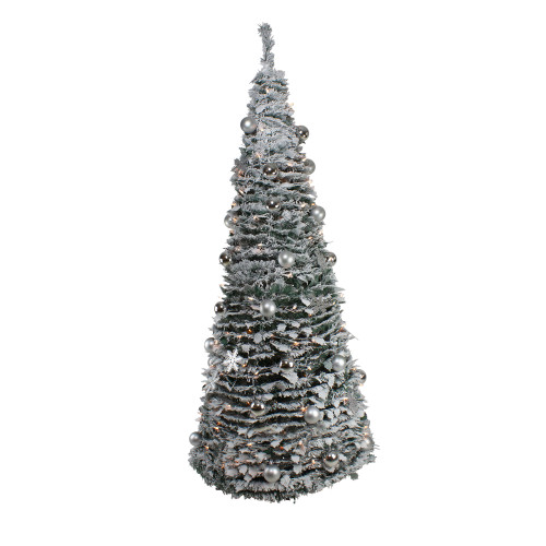 6' Pre-Lit Flocked Pre-Decorated Pop-Up Artificial Christmas Tree - IMAGE 1