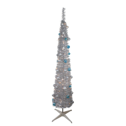 6' Pre-Lit Silver and Blue Pre-Decorated Pop-Up Artificial Christmas Tree - IMAGE 1