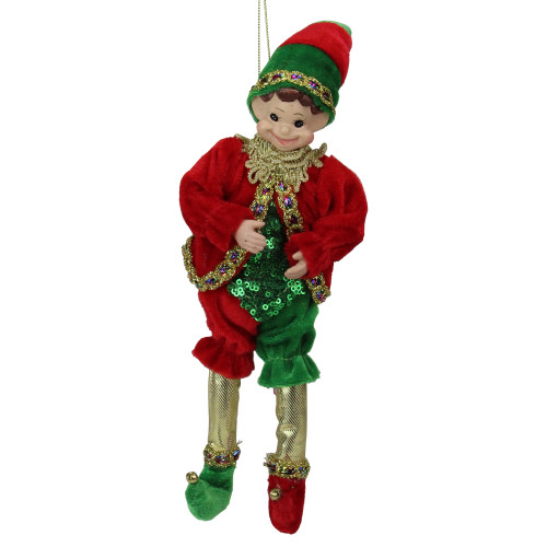"""12"""" Red and Green Bendable Elf in a Suit Hanging Christmas Ornament - IMAGE 1"""