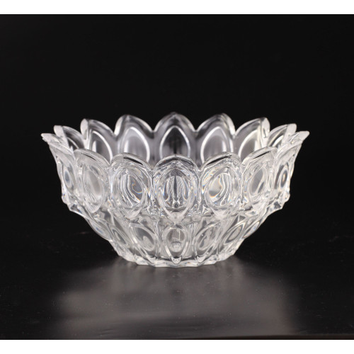 """10"""" Clear Lotus Hand Blown Glass Bowl Tabletop Decor - IMAGE 1"""