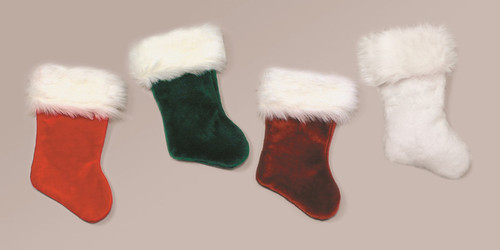 """Traditional White Velvet Plush Christmas Stocking With Faux Fur White Cuff 21"""" - IMAGE 1"""