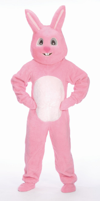 4 Piece Pink Easter Bunny Suit with Mascot Head – Adult Size Large - IMAGE 1