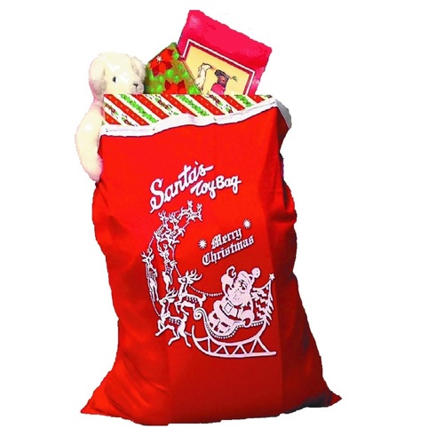 """Red """"Merry Christmas"""" Santa Claus Toy Bag with Drawstring – One Size - IMAGE 1"""