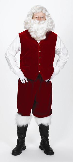Burgundy Velvet Christmas Santa Vest with Gold Buttons– Size Large - IMAGE 1