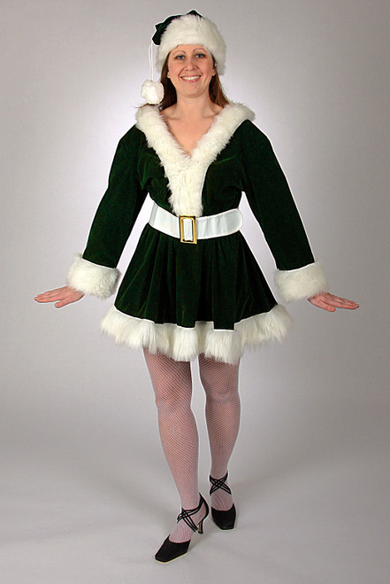 3 Piece Green Velvet Perky Christmas Pixie with White Trim – Size Large - IMAGE 1