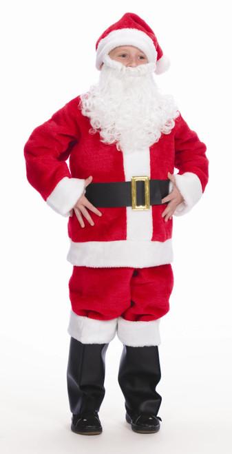 7-Piece Child's Plush Christmas Santa Suit Little Helper - Child Size Medium - IMAGE 1