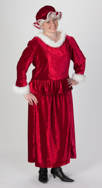 3 Piece Mrs. Claus Burgundy Christmas Costume – Adult Size XL - IMAGE 1