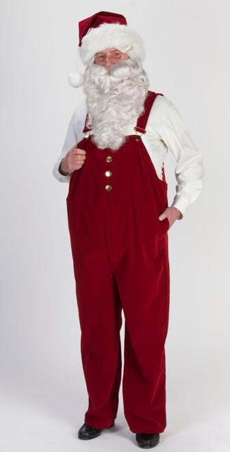 7-piece Burgundy Velvet Overall Santa Claus Christmas Suit - Adult Size XXLarge - IMAGE 1
