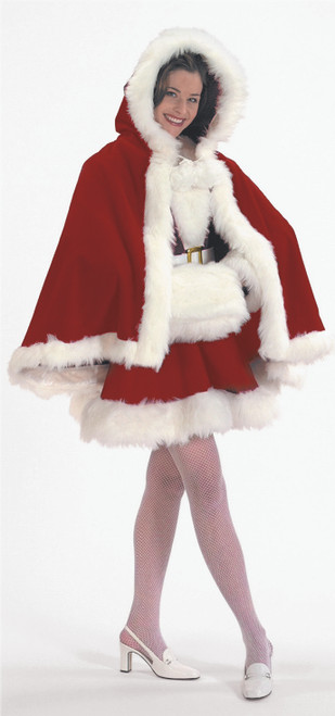 Burgundy Velvet Cape and White Muff - One Size Fits Most - IMAGE 1