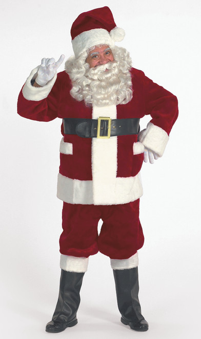 7-piece Burgundy Deluxe Christmas Santa Suit with Pockets - Adult Size XXXL - IMAGE 1