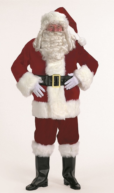 7-piece Burgundy Velvet Santa Suit Christmas Costume - Adult Size XXXL - IMAGE 1