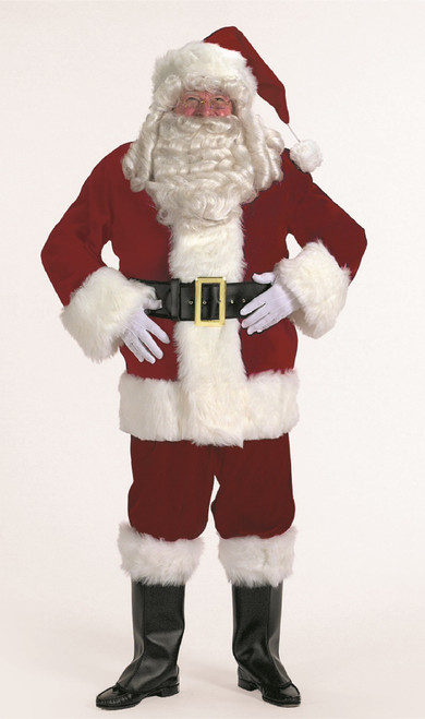 7-piece Burgundy Velvet Santa Suit Christmas Costume - Adult Size XLarge - IMAGE 1