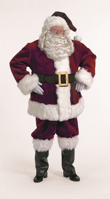 7-Piece Majestic Santa Clause Suit Deluxe Costume Thick Burgundy - Adult Size XXL - IMAGE 1