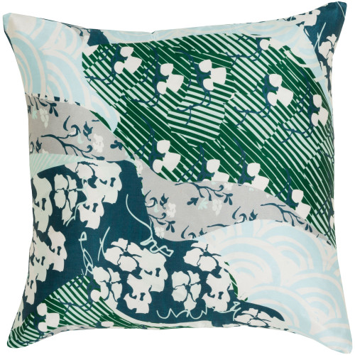 """22"""" Green and Gray Contemporary Square Throw Pillow Cover - IMAGE 1"""