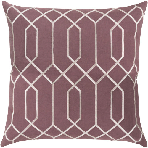 """20"""" Purple and Ivory White Geometric Square Throw Pillow Cover - IMAGE 1"""
