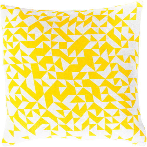 """18"""" Yellow and White Contemporary Square Throw Pillow Cover - IMAGE 1"""