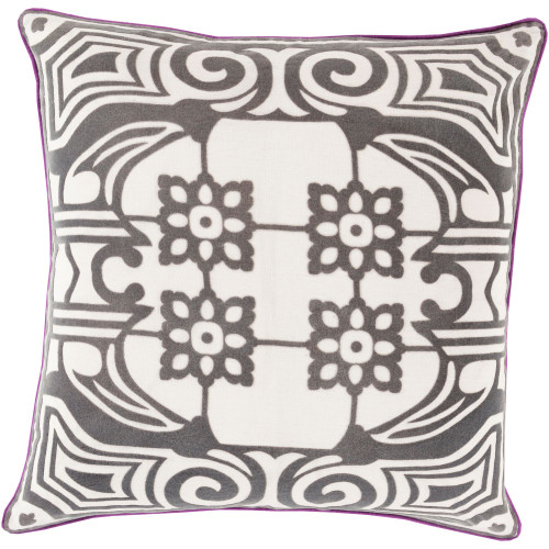 """18"""" Brown and Ivory Contemporary Square Throw Pillow Cover - IMAGE 1"""
