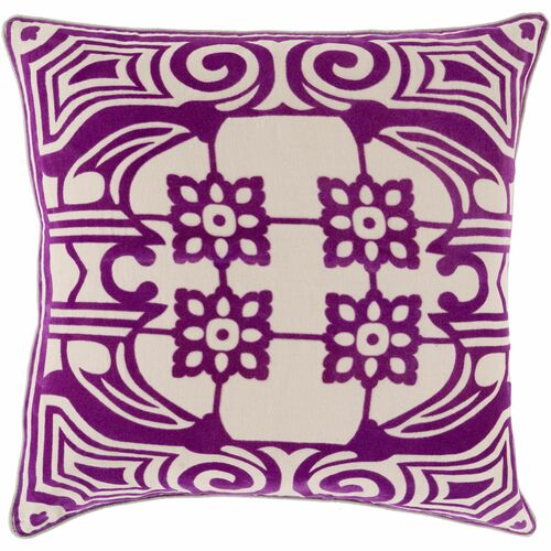 "18"" Purple and Cream White Contemporary Square Throw Pillow Cover - IMAGE 1"