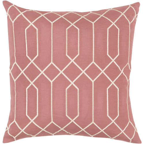 """20"""" Rose Pink and Cream White Geometric Square Throw Pillow Cover - IMAGE 1"""