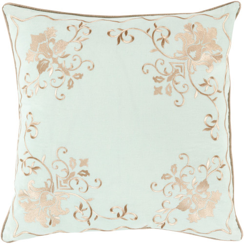 "18"" Sea Foam Green and Brown Floral Square Throw Pillow Cover - IMAGE 1"