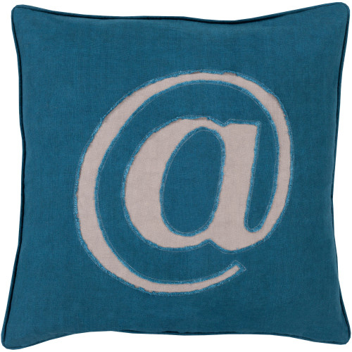 "22"" Blue and White Contemporary Square Throw Pillow Cover - IMAGE 1"