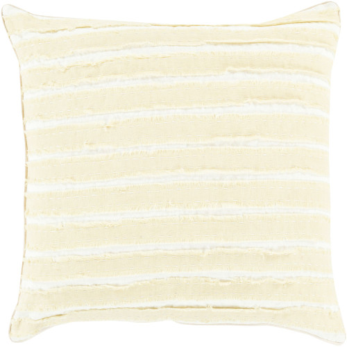"18"" Cream White and Yellow Striped Square Throw Pillow Cover - IMAGE 1"