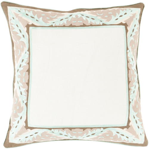 """18"""" Brown and Ivory Square Throw Pillow - Down Filler - IMAGE 1"""