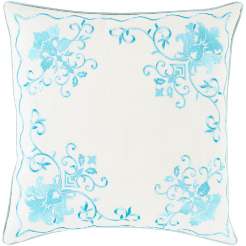 """20"""" Aqua Blue and White Floral Square Throw Pillow Cover - IMAGE 1"""