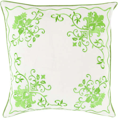 "22"" Green and White Contemporary Square Throw Pillow Cover - IMAGE 1"