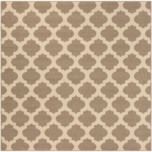 8.8' x 8.8' Moroccan Brown and Beige Square Area Throw Rug - IMAGE 1
