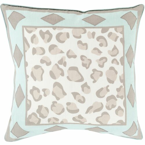 """22"""" Aqua blue and Taupe Contemporary Style Square Throw Pillow Cover - IMAGE 1"""