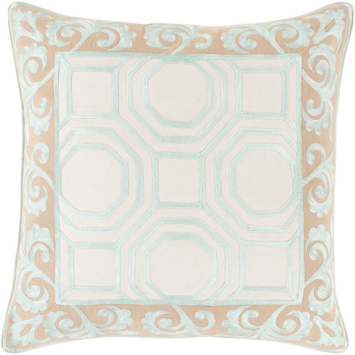 """22"""" Beige and Blue Geometric Square Throw Pillow Cover - IMAGE 1"""