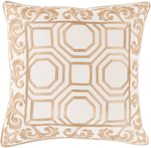 "20"" Beige and Gold Geometric Square Throw Pillow Cover - IMAGE 1"