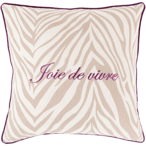 "22"" Purple and Taupe ""Join de Vivre"" Printed Zebra Striped Square Throw Pillow Cover - IMAGE 1"
