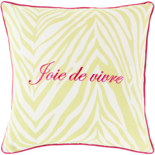 "22"" Pink and Lime Yellow ""Join de Vivre"" Printed Zebra Striped Square Throw Pillow Cover - IMAGE 1"