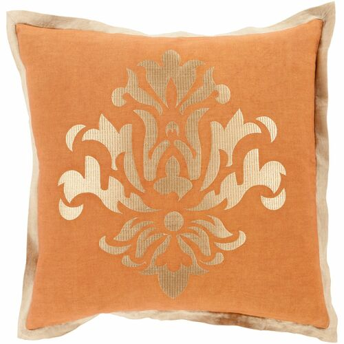 "22"" Orange and Gold Dazzling Damask Square Throw Pillow Cover - IMAGE 1"