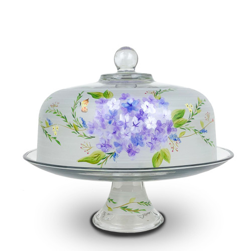 """White and Blue Floral Hand Painted Glass Convertible Cake Dome 11"""" - IMAGE 1"""
