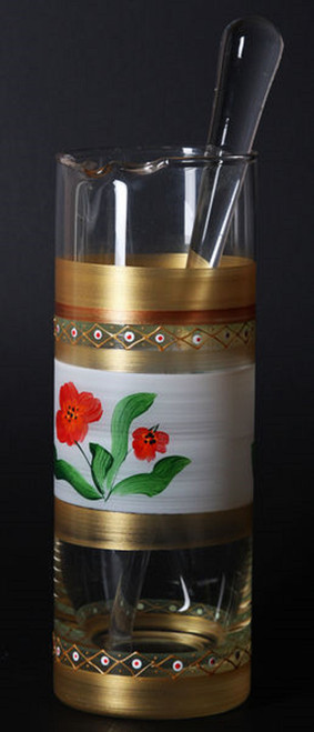 Gold and Clear Floral Hand Painted Glass Martini Pitcher with Stirring Rod 40 oz. - IMAGE 1
