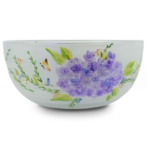"""Gold and White Floral Hand Painted Glass Serving Bowl 11"""" - IMAGE 1"""