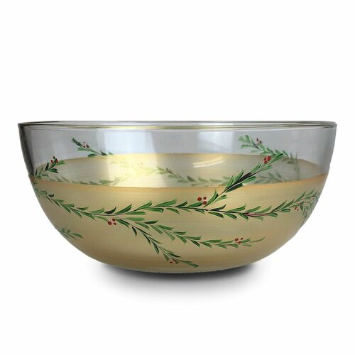 """11"""" Gold Christmas Garland Hand Painted Glass Serving Bowl - IMAGE 1"""