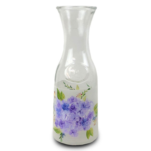 White and Blue Floral Hand Painted Carafe 34 oz. - IMAGE 1