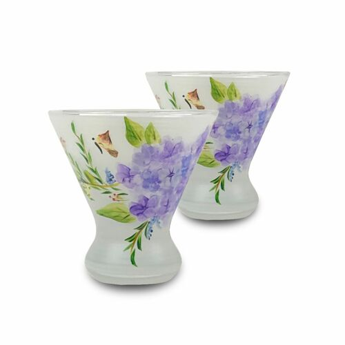 Set of 2 Blue and Green Floral Hand Painted Cosmopolitan Wine Glasses 8.25 oz. - IMAGE 1