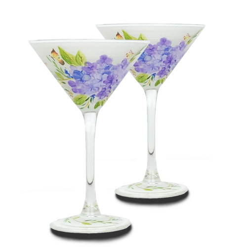 Set of 2 White and Blue Floral Hand Painted Martini Glasses 7.5 oz. - IMAGE 1