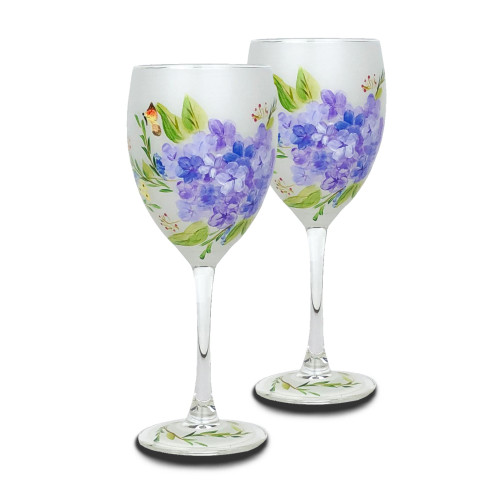 Set of 2 White and Blue Floral Hand Painted Wine Glass 10.5 oz. - IMAGE 1