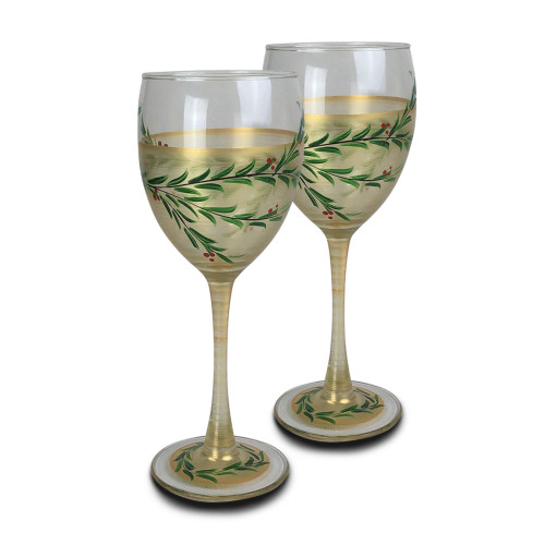 "Set of 2 Gold Christmas Garland Hand Painted Wine Drinking Glasses Glasses 8"" - IMAGE 1"