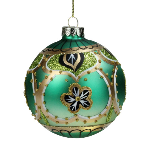 """4"""" Green Gold and Black Floral Bead and Jewel Glass Ball Christmas Ornament - IMAGE 1"""
