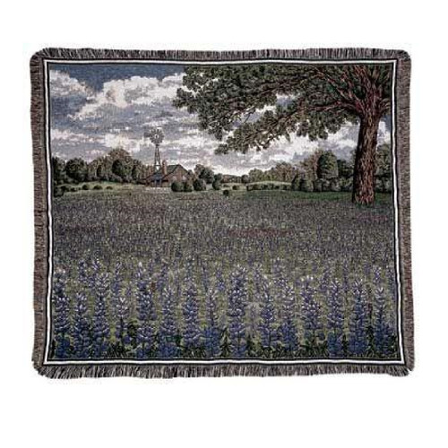 """Purple and Green Rectangular Tapestry Throw Blanket with Field of Texas Bluebonnet Flowers Design 50"""" x 60"""" - IMAGE 1"""